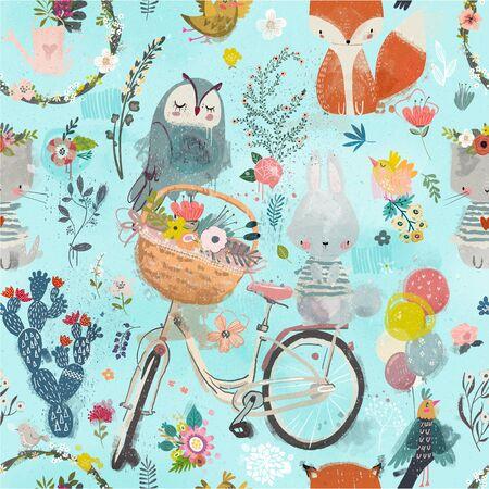 seamless pattern with cute animals Standard-Bild