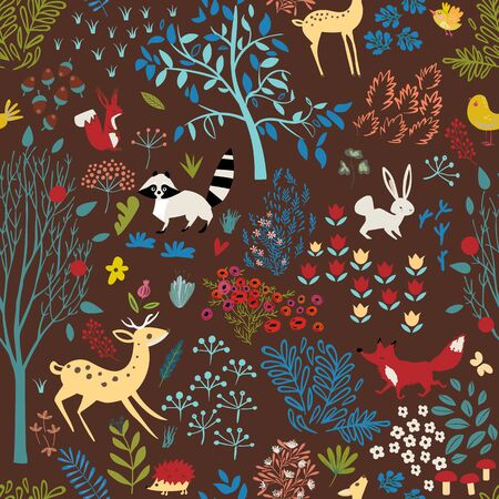 seamless pattern with cartoon woodland Ilustrace