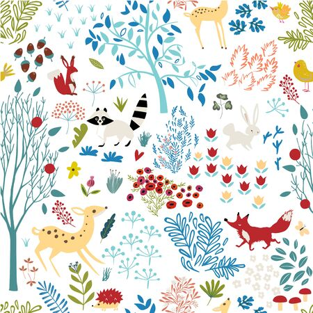 seamless pattern with cartoon woodland and elements