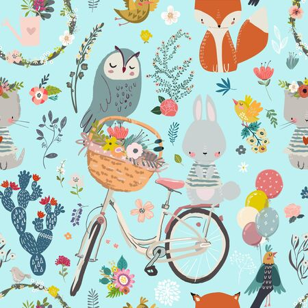 seamless pattern with cute animals and flowers