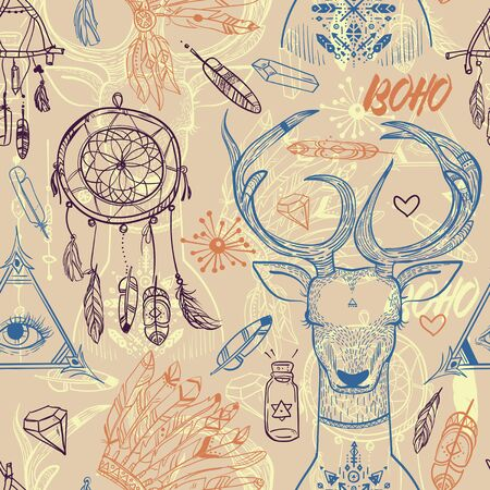 seamless vector pattern with boho elements and deer head