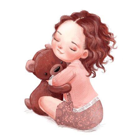 cartoon little girl with cute teddy bear