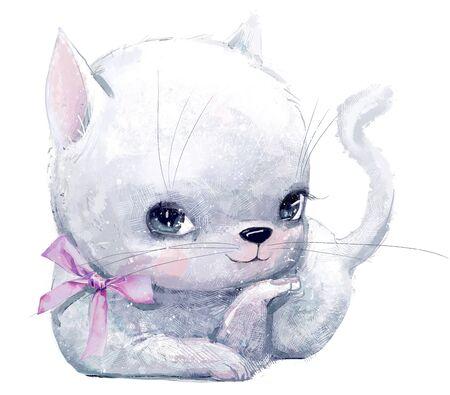 cute little ktten girl with pink bow Standard-Bild