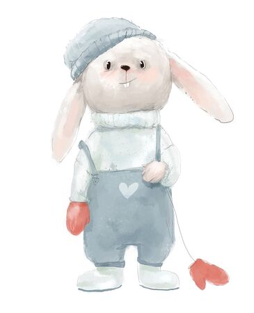 cute little hare with red mittens and hat