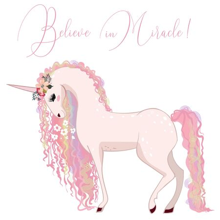 beautiful pink unicorn with curly pink mane Ilustrace
