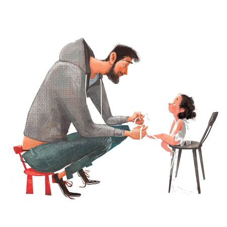 cute little ballerina girl with her father