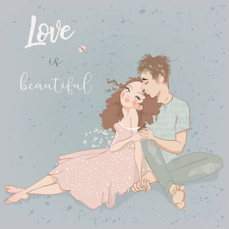 young summer couple in love