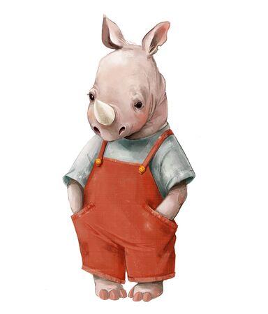 Little rhinoceros boy in a red jumpsuit