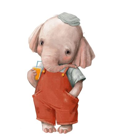 cute little elephant boy in a red jumpsuit with juice