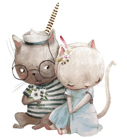 lovely couple of cats with floral wreath Standard-Bild