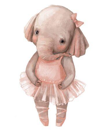 cute little elephant girl with ballerinas dress Standard-Bild