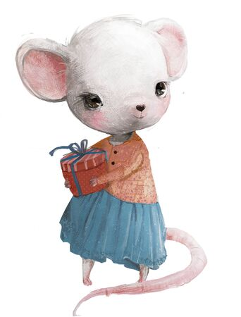 cute little mouse girl with present box