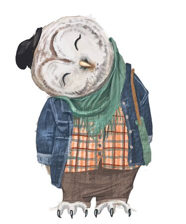 cute hipster owl with hat and bag