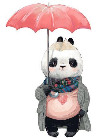 cute panda bear with umbrella Standard-Bild