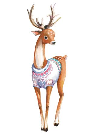 cute standing watercolor deer with knitted sweater