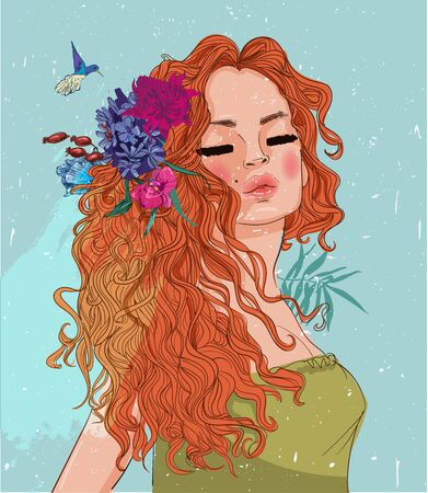 portrait of young woman with long hairs Illustration