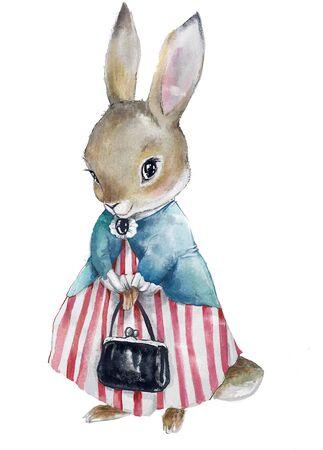 cute little bunny girl with black bag