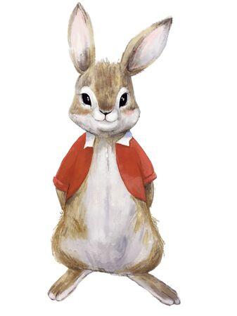 cute bunny boy with red shirt