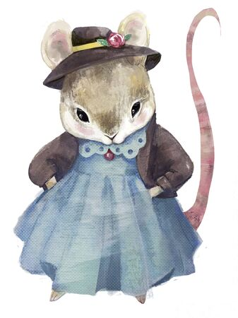 cute little dressed mouse girl with blue sweater