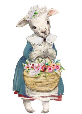 cute little sheep with basket of flowers Standard-Bild