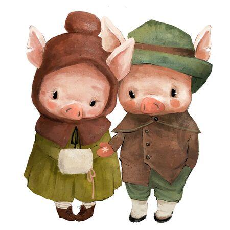 Cute pig boy and girl characters in retro winter dress Standard-Bild