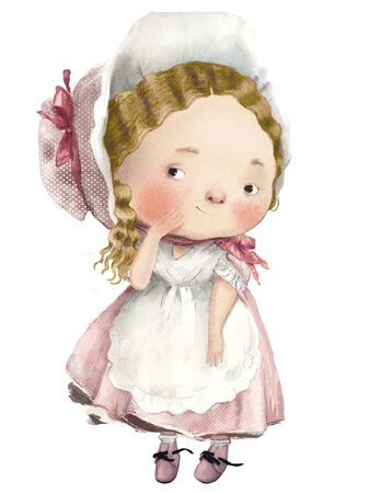 cute cartoon lovely girl with dress and apron
