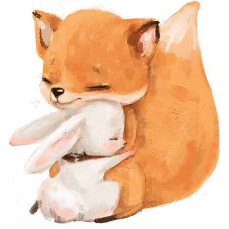 warm hugs of fox and hare