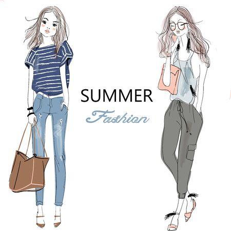 cute cartoon fashion sketched girls Illustration