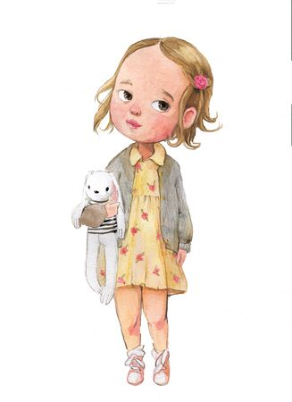 cute little watercolor girl with hare toy in yellow dress