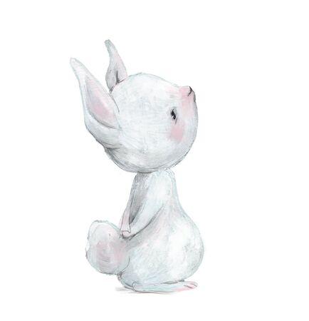 cute little white cartoon hare