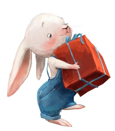 cute little white cartoon hare with red pants Standard-Bild