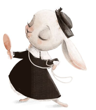 cute little white cartoon hare lady
