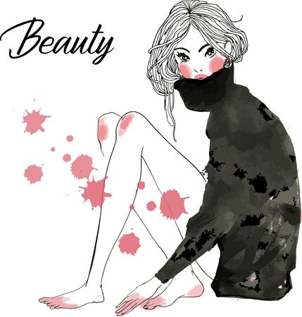 cute cartoon fashion sketched girls with watercolor spots
