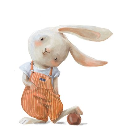 cute little cartoon hare with a ball