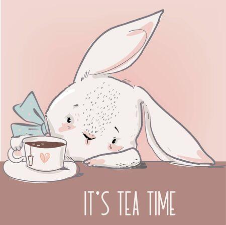 cute little white cartoon hare with tea