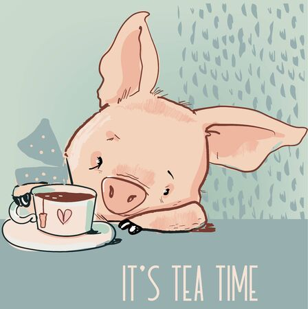 cute little lovely cartoon pink with tea cup