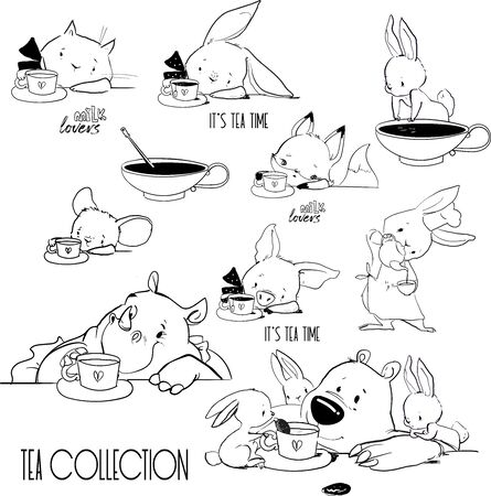 set with cute lovely animals drinking tea
