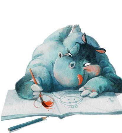 cute cartoon blue hippo girl drawing in sketchbook