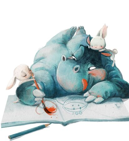cute cartoon blue hippo girl drawing with hares