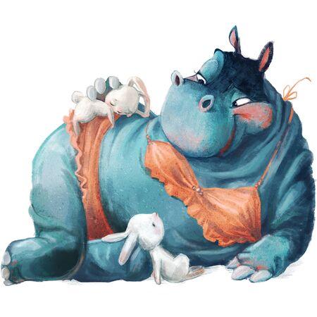 cute cartoon blue hippo girl with hares