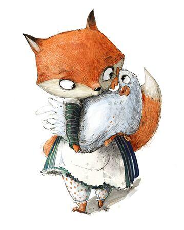 cute fox girl with white chicken in her hands Standard-Bild