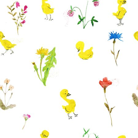 seamless pattern with cartoon duckling and flowers