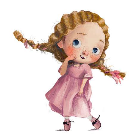 cute little watercolor girl in pink dress