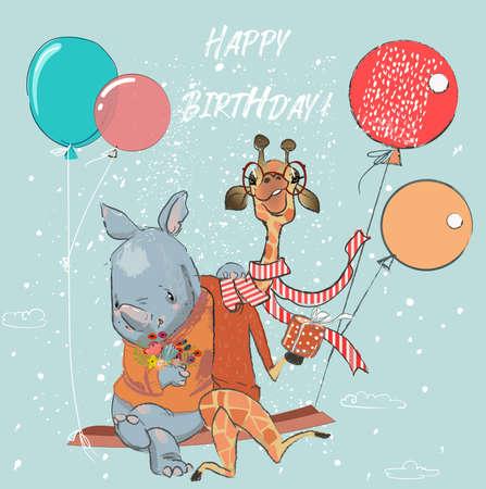cute giraffe and rhino flight with balloons