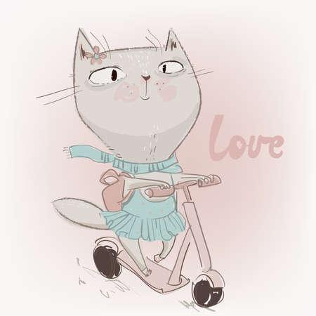 cute lovely cat on schooter Vetores