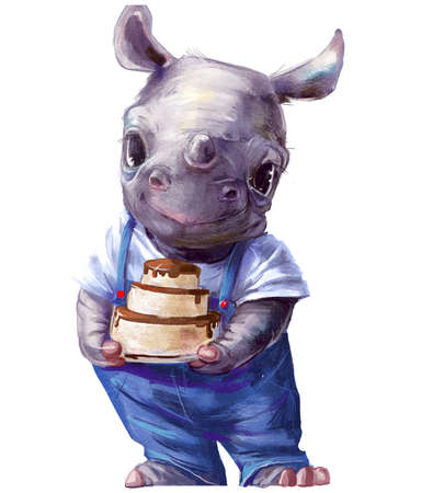 cute cartoon little rhino with birthday cake
