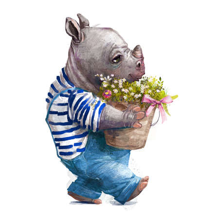 cute cartoon little rhino with floral bouquet