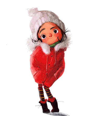 cute little winter girl in red jacket