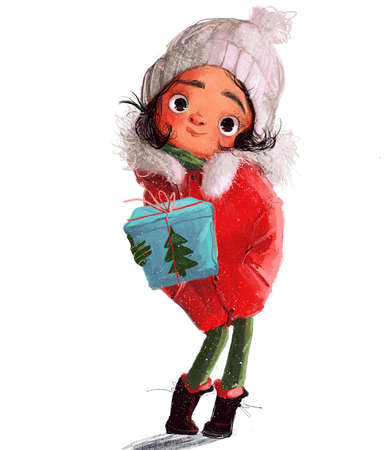 cute little winter girl in red jacket with present box Reklamní fotografie