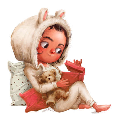 cute little cartoon girl with teddy bear and present box Reklamní fotografie